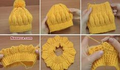 Crochet Patterns Beanie How to Crochet Beanie Hat With Leaves – Tutorial Crochet Mini Flower String - Tutorial - Page 2 of 2 - ilove-crochet Crochet Beanie Hat With Leaves This is a video, don't see written instructions in pattern format. Bonnet Crochet, Crochet Beanie Hat, Crochet Baby Hats, Crochet Dolls, Beanie Hats, Free Crochet, Knit Crochet, Baby Hat Knitting Pattern, Baby Hat Patterns