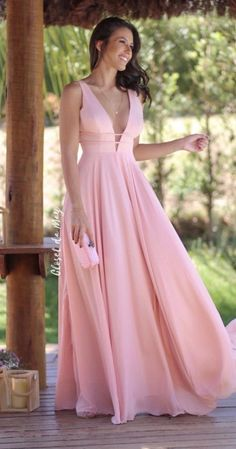 V-neck Light Pink Evening Dress Chiffon Prom Dresses, Cheap Party Dresses on Luulla V Neck Prom Dresses, Prom Dresses For Teens, Gala Dresses, Homecoming Dresses, Bridesmaid Dresses, Wedding Dresses, Pink Evening Dress, Chiffon Evening Dresses, Formal Evening Dresses