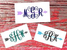 Arrow Monogram Decals : two-color designs! Made with permanent vinyl and perfect for that boring surface screaming to be monogrammed ;)