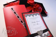 Red White and Black Brocade Romance Musical Wedding Invitation and RSVP Card. Comes in Musical Box that Sings! Singing Music boxed invite in crimson. Totally custom, high end/class, couture, elegant invite.