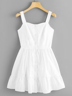 Shop Button Through Ruffle Hem Skater Cami Dress online. SHEIN offers Button Through Ruffle Hem Skater Cami Dress & more to fit your fashionable needs. Fashion News, Girl Fashion, Fashion Dresses, Womens Fashion, Fashion Rings, Summer Outfits, Cute Outfits, Summer Dresses, Stylish Outfits
