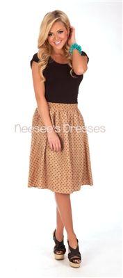 Chiffon Tan & Black Polka Dot Skirt