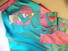 Superhero Cape Custom Princess Cape Mask and Cuff set by Woodfrock, $73.00