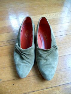 Olive Suede and Leather Stacked Wood Heel Shoes by ELLEN by VTGRDX, $35.00