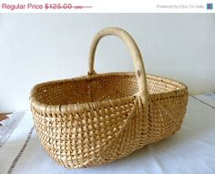 ON SALE Vintage French Gathering Basket Home Decor