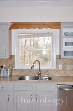 Removing over window trim piece Annie Sloan Chalk Paint Kitchen Cabinets, Painting Kitchen Cabinets, Nantucket, Home Improvement, Kitchens, Window, Studio, Pendant, Projects