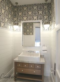 Painted shiplap used as wainscoting. small bathroom wallpaper, laundry in bathroom, downstairs bathroom Wainscoting Bathroom, Downstairs Bathroom, Laundry In Bathroom, Bathroom Canvas, Master Bathroom, Wainscoting Height, Black Wainscoting, Wainscoting Styles, Bathroom Small