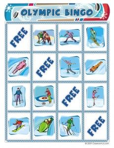 Free Winter Olympics printable Bingo cards
