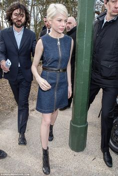 Slimmer: Michelle Williams showed off a thinner frame as she attended the Louis Vuitton sh...