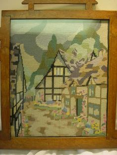 Antique Victorian Fireplace Screen | Victorian Needlepoint Village Scene Fireplace Screen from ...