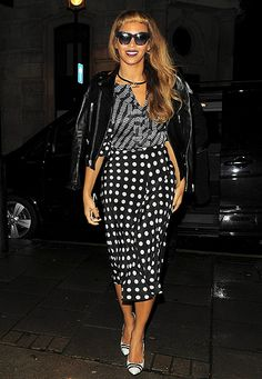 Beyonce dazzled in a black and white printed outfit in London.