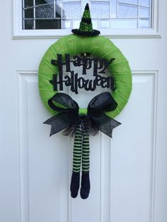 Happy Halloween Wreath - Witch Wreath - Burlap Wrapped Wreath -Halloween Wreath on Etsy, $50.00#Halloween #Hallowe'en #diy #home #yourhomemagazine #make #party #accessories #kids #family #spooky #scary