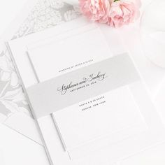 Our NEW Delicate Elegance stationery is clean, simple, and timeless. Perfectly complete with our new hydrangea envelope liner and a silver solid belly band!