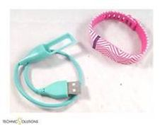 Pink White Stripes Smart Buddie Fitbit Flex Activity Tracker Band and Charger SM #SmartBuddie