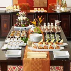Mini appetizers Table - Trends The Artful Appetizer Table Appetizers Table, Appetizers For Party, Appetizer Table Display, Individual Appetizers, Appetizer Buffet, Catering Display, Appetizer Plates, Plate Display, Party Snacks