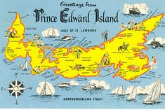 Prince Edward Island map-Anne of Green Gables. island in the middle of the Atlantic. Quebec Montreal, Quebec City, Prince Edward Island, O Canada, Canada Travel, Canada Trip, Nova Scotia, Acadie, Plus Belle La Vie