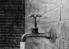 Woda..., 50x70cm, brystol, pencil, graphite