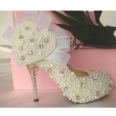 Make to order hand sewn pearl shoes ivory