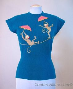 Vintage 50s Embroidered Monkey Sweater (Funny & cute)