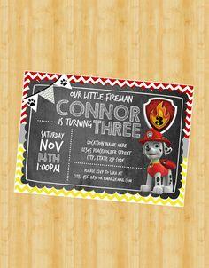 Paw Patrol Fireman Invite - Fireman Invitation - Chalkboard Invite - DIY…