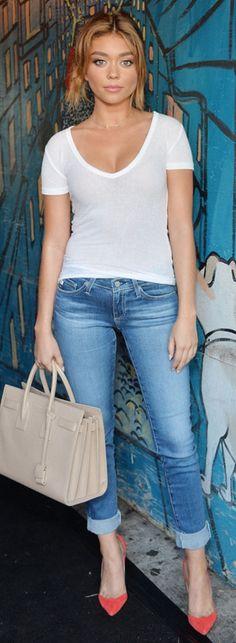 Sarah Hyland: Purse – Saint Laurent  Shoes – Manolo Blanik  Jeans and shirt – AG