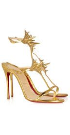 CHRISTIAN LOUBOUTIN  Lady Max 100 spike-embellished metallic leather sandals