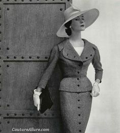 Suit created by Jacques Fath, 1954. Photo by Philippe Pottier. #vintage #suits…