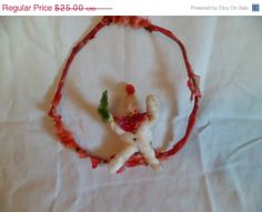 HOLIDAY SALE Antique Russian  Christmas cotton by thelongacreflea, $22.50