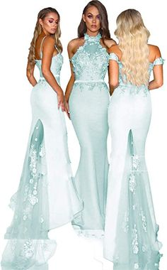 4729e3ebb7cb SDRESS Women s Off The Shoulder Lace Applique Mermaid Bridesmaid Dress Prom  Fommal Gowns with Train Aqua