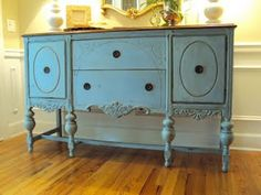 Louis Blue Chalk Paint on Vintage Buffet at Light of the Home blog.