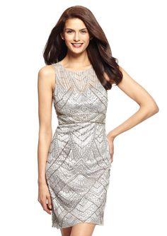 SUE WONG Sheer Illusion Cocktail Dress