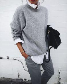 SOFT GOAT   cashmere knit / FRAME   le hight rise jeans / UNIQLO   white cotton shirt / H&M   grey tailored pants / ATP ATELIER   chiara boots / MANSUR GAVRIEL   lady bag