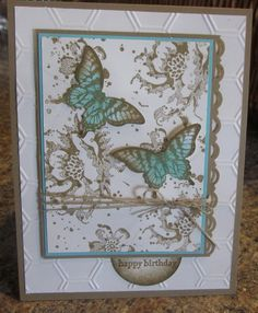 6/24/2014; Linda at 'Stamping Rox my Fuzzy Blue Sox' website; Gorgeous Grunge, Teeny Tiny Wishes, Stippled Blossoms and Papillon Potpourri stamp sets; Honeycomb Textured Impression folder; inks: Crumb Cake, Whisper White and Pool Party