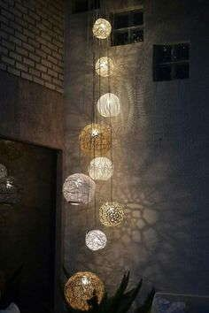 String lights (maybe child craft of planets) -