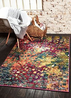Modern Abstract Geometric 10 feet by 13 feet 10 x 13 Barcelona Multi Contemporary Area Rug