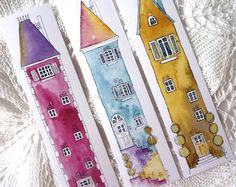 Book marks 6 colourful Illustrations of tall by shelikesthis