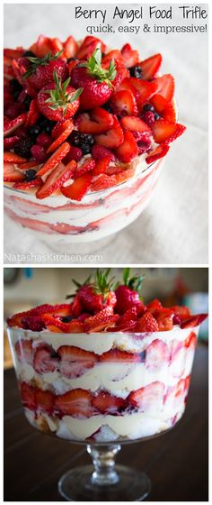 A no-bake dessert that takes 30 min to make! This mixed-berry angel food cake trifle is always a hit at parties! @natashaskitchen