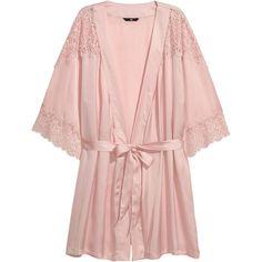 Satin Kimono $29.99 (7.720 HUF) ❤ liked on Polyvore featuring intimates, robes, short robe, satin kimono, satin robe, short kimono and light pink robe
