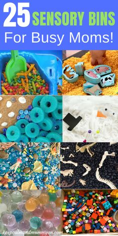 25 Sensory Bins For Busy Moms! Sensory Activities For Kids, Sensory Bin Ideas, Sensory Activities For Toddlers, Sensory Activities For Preschoolers, Fine Motor Skills
