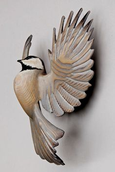 Chickadee wood carving in ash wood, by Jason Tenant