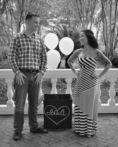 Baby Boy Gender Reveal with Balloons