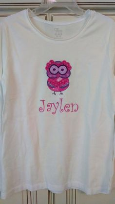 Personalized t-shirts. $12 for babies, $16 for kiddos and $18 for adults   Check us out on Facebook! Sew cute Chics. #owl #socute can be done in any colors and any design