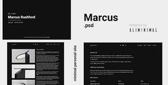 Marcus - Minimal vCard PSD Template . Marcus is a vCard PSD Template for personal uses. It is creative and clean. Markus is available in two color tones in dark and light. PSD files are well organized and named accordingly so its very easy to change any and all of the design.You can convert it to Site Template, Wordpress, Joomla or