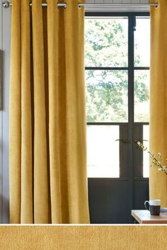Buy Soft Velour Eyelet Lined Curtains from the Next UK online shop Curtains Uk, Yellow Curtains, Colorful Curtains, Blackout Curtains, Panel Curtains, Wooden Curtain Poles, Metal Curtain, Curtain Fabric, Modern