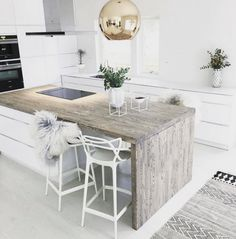 countertop ideas rustic wood counter in white kitchen