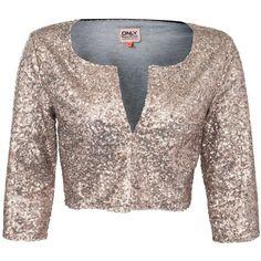 Only Bronze Izzy Sequin Bolero Jacket ($77) ❤ liked on Polyvore