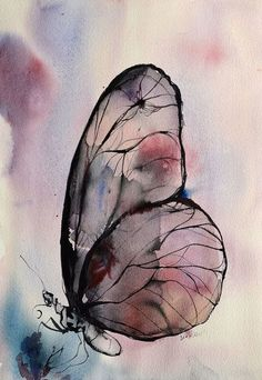 Image about Darkness in Art , Painting by Salwa Saeed - Watercolor art - Butterfly Watercolor, Butterfly Art, Watercolor And Ink, Watercolor Paintings, Purple Butterfly, Butterfly Painting, Butterfly Images, Butterflies, Watercolours
