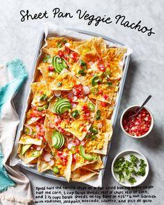 Sheet Pan Veggie Nachos Are Easy, Cheesy, and Ready in No Time Veggie Nachos, Chicken Nachos, Cilantro, Vegan Recipes, Cooking Recipes, Vegan Meals, Dairy Free Cheese, Food Allergies, Sheet Pan