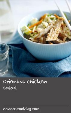 Oriental chicken salad |      This spicy, crunchy salad is low in fat but full of flavour - perfect for a healthy dinner.Each serving provides 216kcal, 26g protein, 14g carbohydrate (of which 13g sugars), 6g fat (of which 1g saturates), 2g fibre and 	0.9g salt.