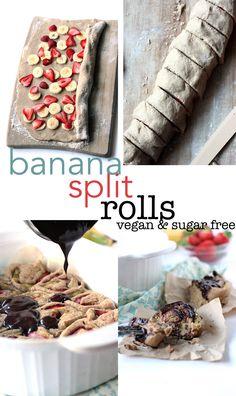 Banana Split Rolls! A fun twist on cinnamon rolls. Vegan and sugar free too! | love me, feed me